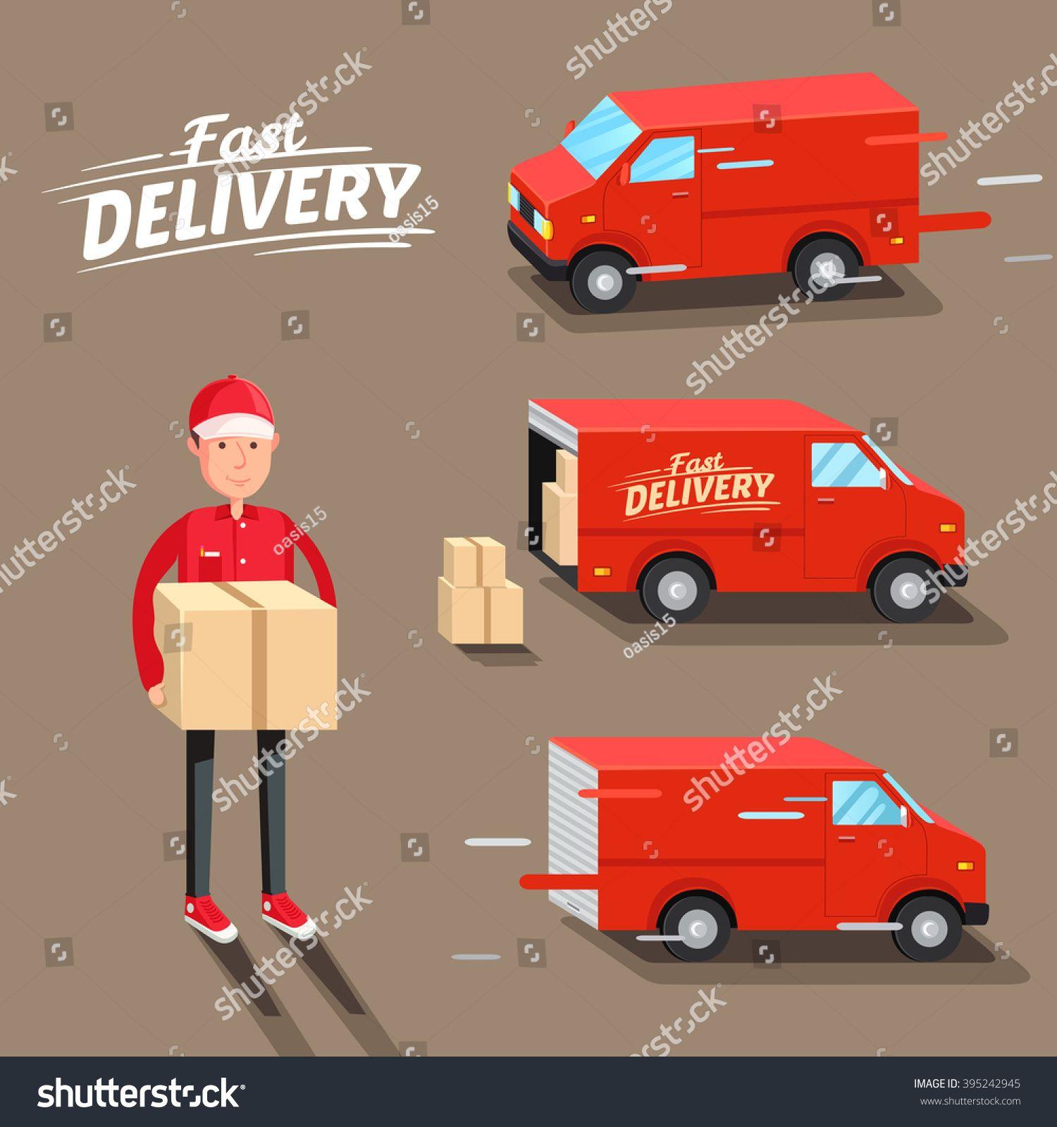 Delivery Concept Fast Delivery Van Delivery Man Vector