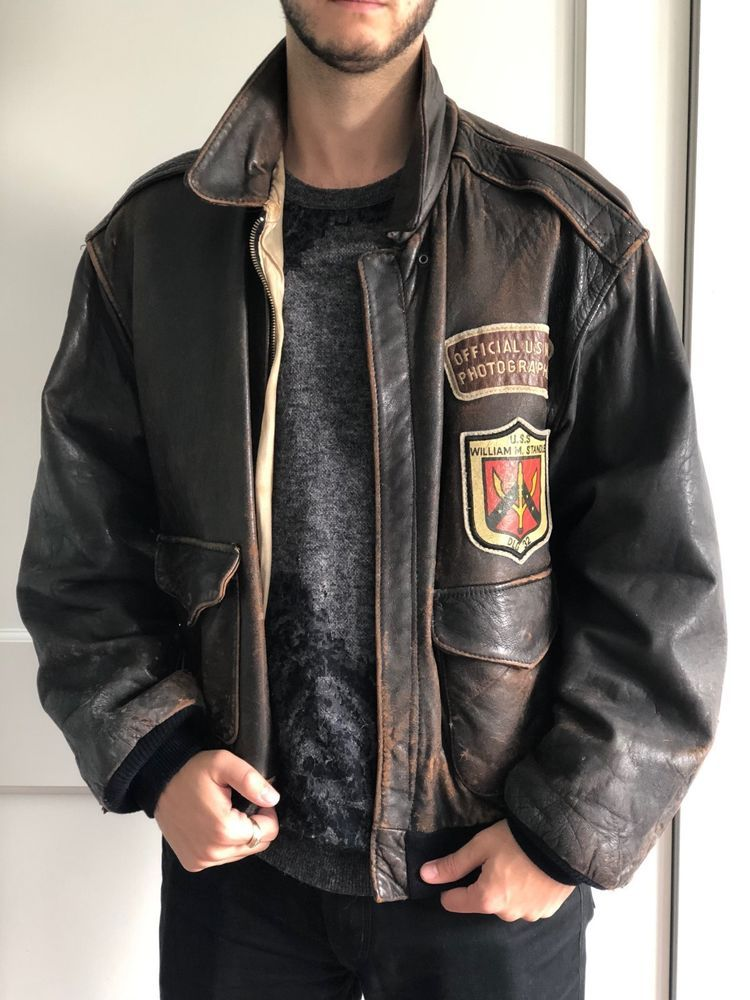 af43acc86 Avirex Mens U.S. Army Air Force Large Leather Bomber Flight Jacket ...