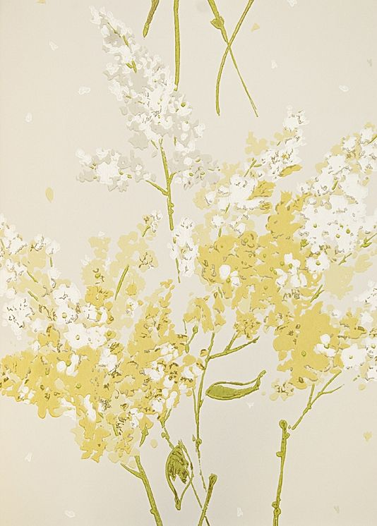 Barrington Floral Wallpaper Print Depicting Scatterings Of Lilac Flowers In Golden Yellow And White On Cream Background With Gold