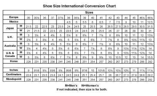 Kids shoe size chart at a glance: Use these shoe size conversion charts for kids and easy-to-use kids shoe size calculators to convert from the length of your kids' foot in inches or centimeters to US-size, UK-size, European sizes and International sizes.