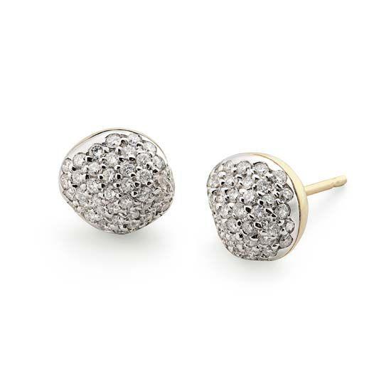 Par de brincos de ouro amarelo e ouro branco 18K com diamantes http ... edf75b1e0e