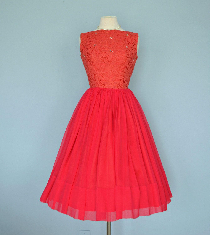 Vintage 1950s Red Party Dress...JULIE MILLER Crimson Lace and ...