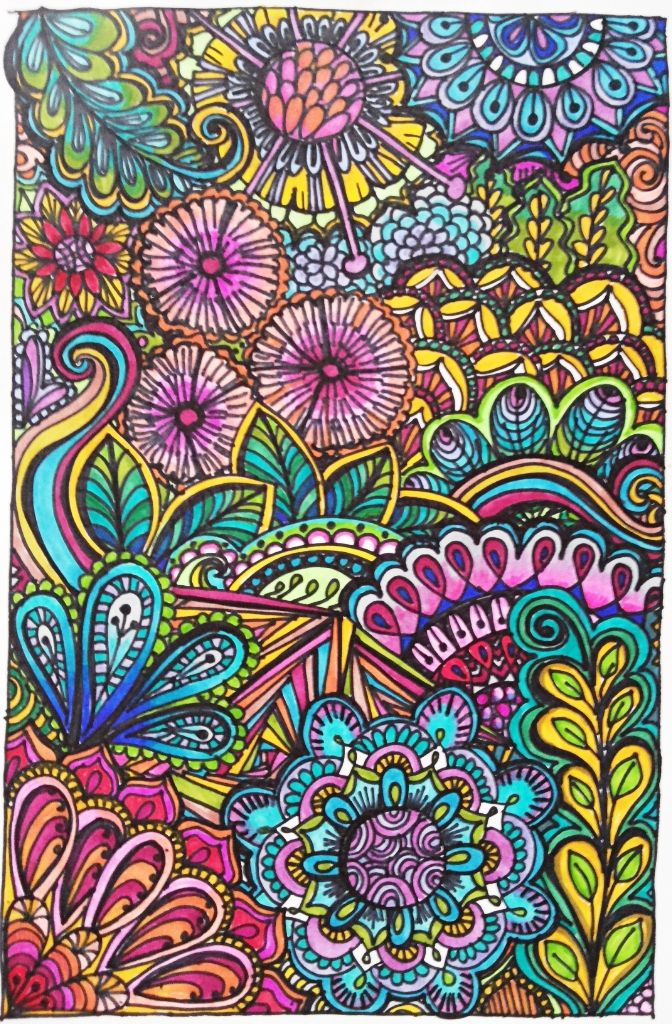 Flowers and Leaves  Coloured zentangle  | Doodle and