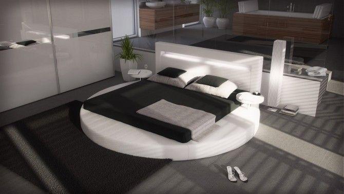 Lit Rond Design 140x190 Cm Blanc Avec éclairage Uster Pinterest