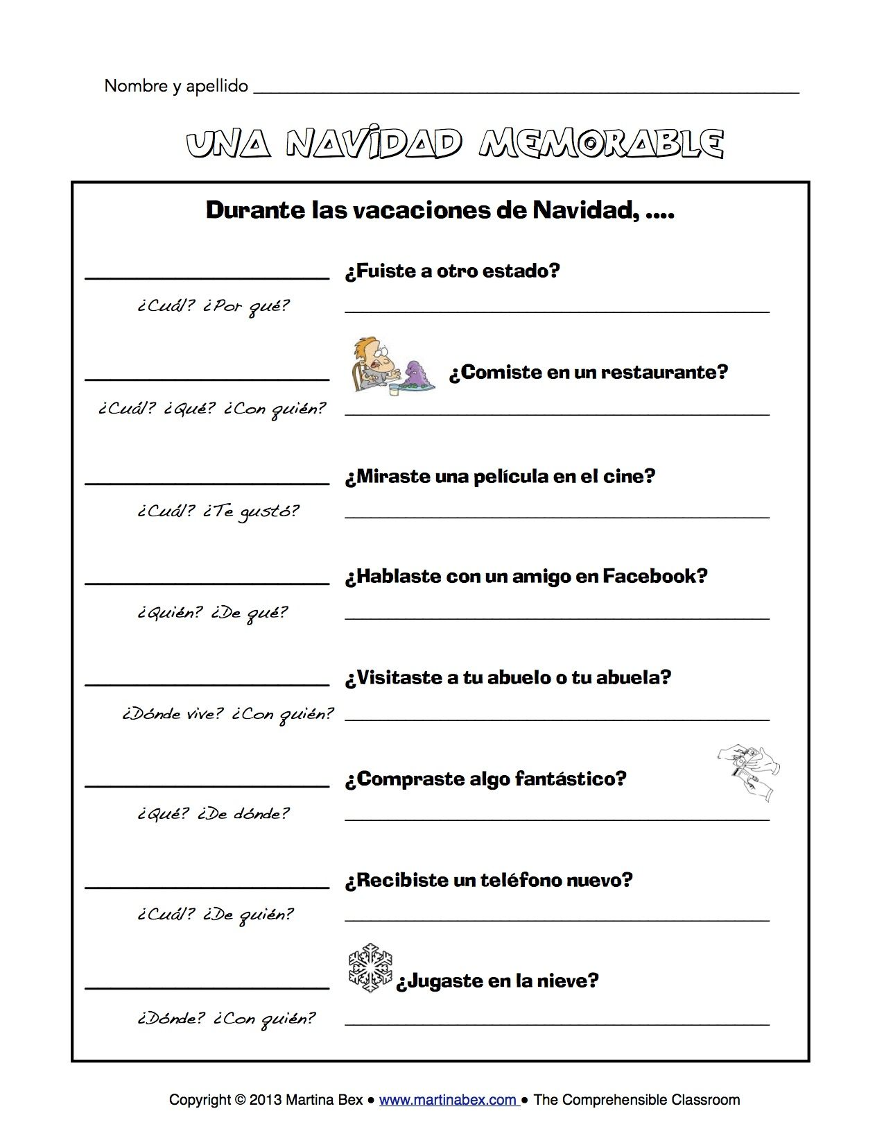 worksheet Regular Preterite Worksheet una navidad memorable spanish january and activities christmas vacation communicative activity in for the first day back from break january