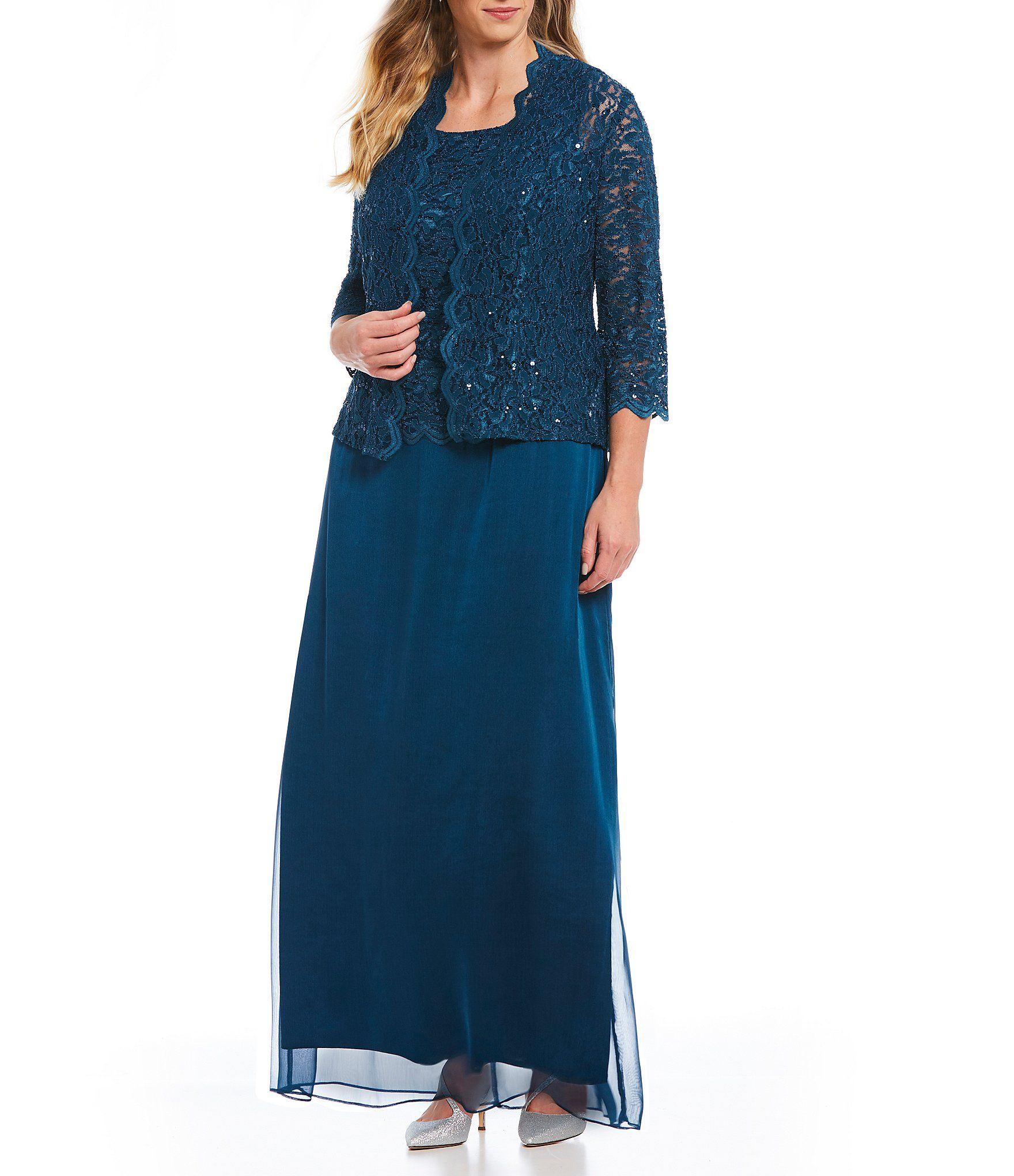 11f6a6fb5d6 Alex Evenings Plus Size A-Line Lace Long Jacket Dress  Dillards ...