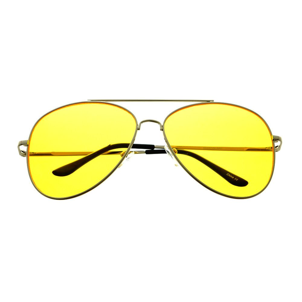 d7594ee06d  aviator  sunglasses  shades  retro  vintage  fashion  style  celebrity   inspired  silver  metal  large  yellow  lens  designer