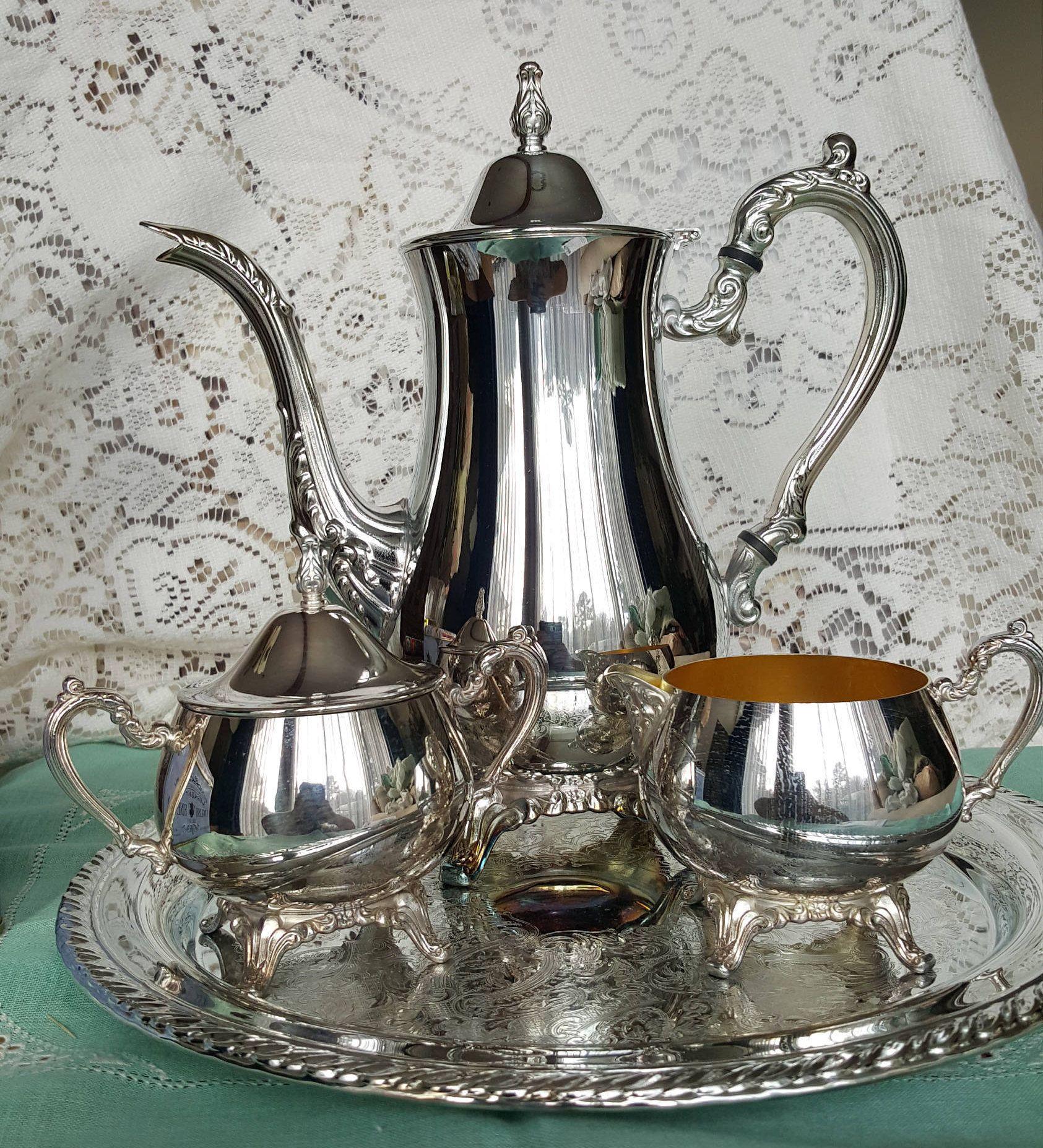 Oneida 5 Piece Coffee Silver Plated Service Set, Coffee Pot Sugar ...