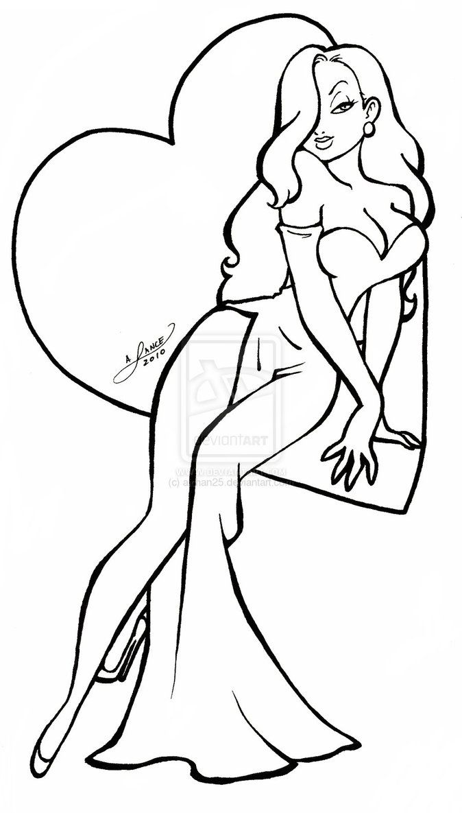 Jessica Rabbit coloring pages  Jessica rabbit, Cartoon drawings