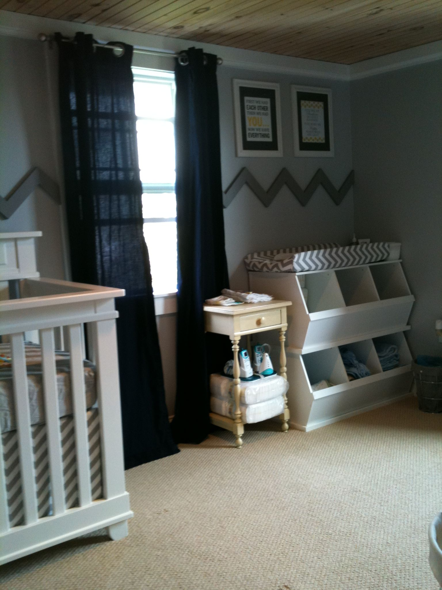 Grey Chevron Nursery Changing Station, Zig Zag Trim Board Painted