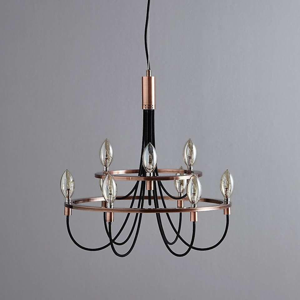Fredirica 9 Light Copper Chandelier | Dunelm | Copper