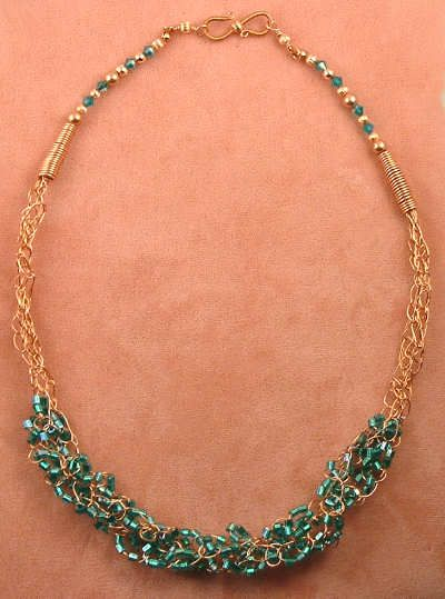Crochet Beaded Necklace Pattern Wire Crochet Necklace Click To