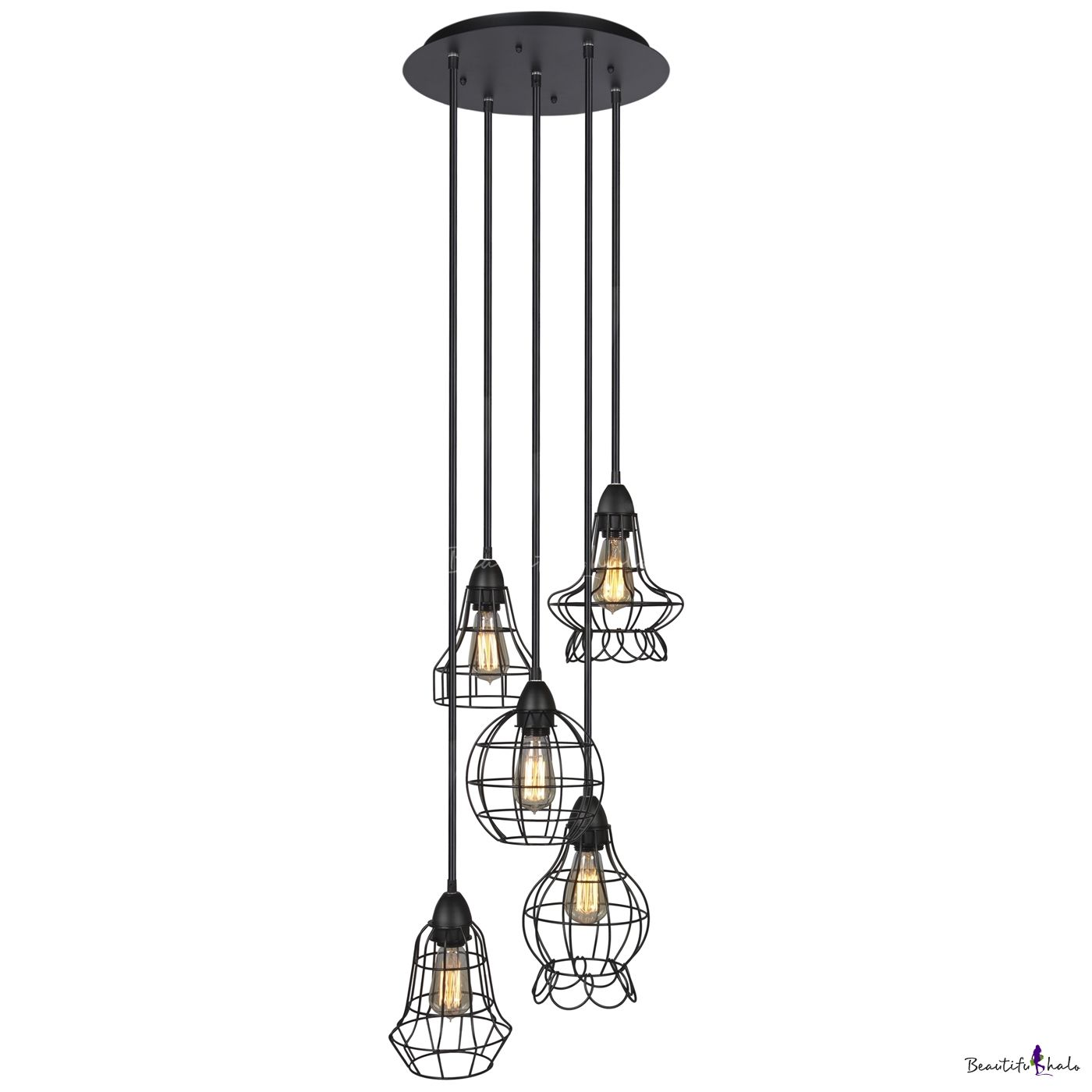 A LOFT Set of Lighting Fixture with Five Iron Cage Bulb Lights - Beautifulhalo.com