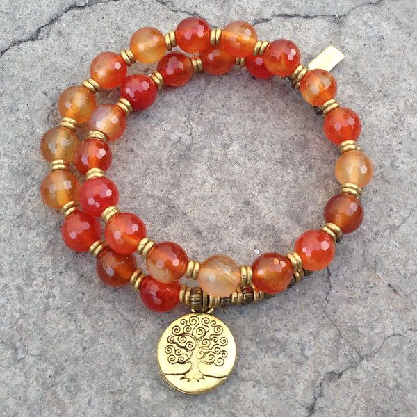 Stability and Motivation, genuine faceted carnelian gemstone 27 bead mala wrap bracelet with Tree of life charm
