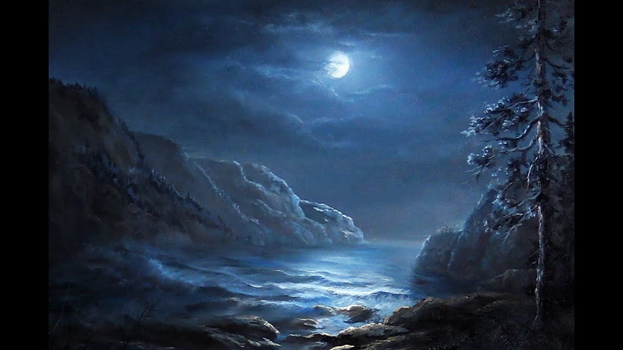 Do You Enjoy Night Time Scenes With The Moon Just Showing Through The Clouds Watch Kevin S Moonlight Painting Kevin Hill Paintings Landscape Paintings Acrylic