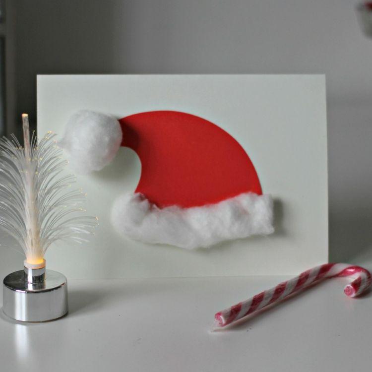 kindern weihnachtskarten basteln weihnachtsmannmütze vorlage watte ...
