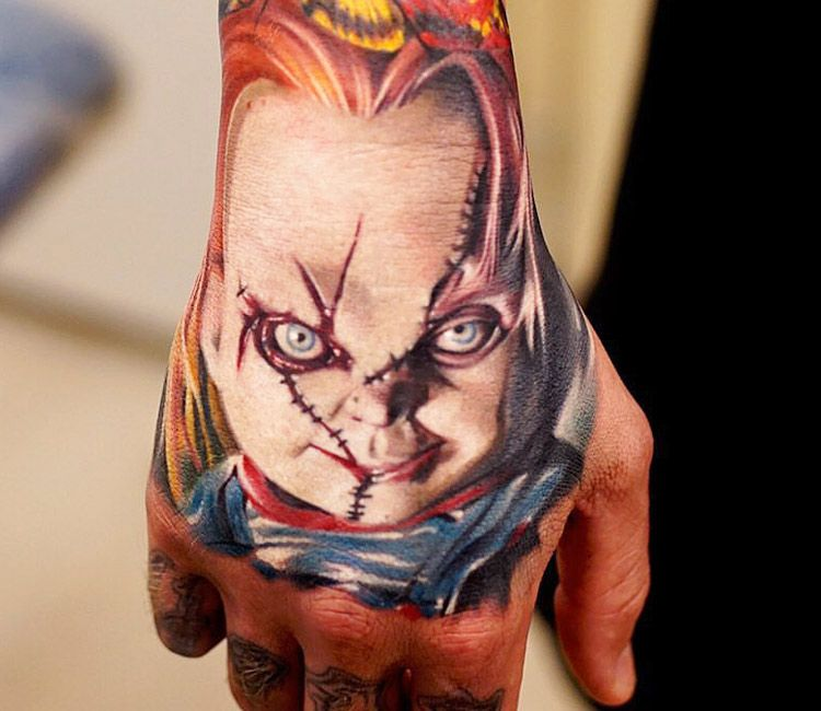 Realistic Coloring Of Chucky: Chuki Hand Tattoo By Khan Tattoo
