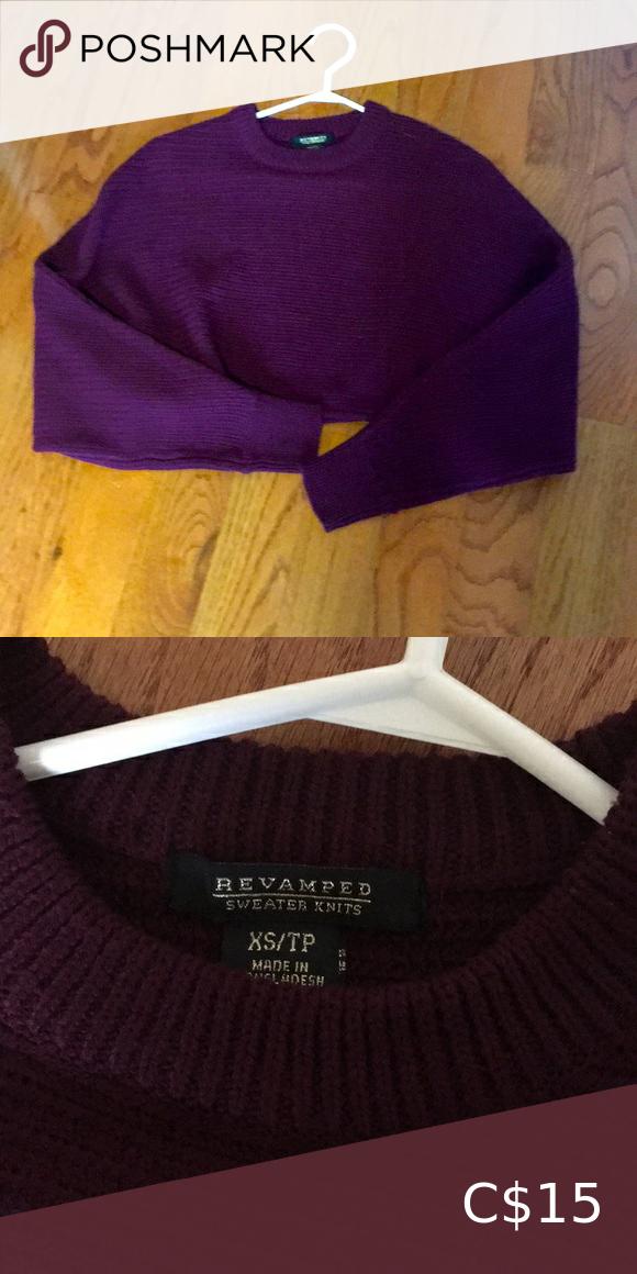 Burgundy crop sweater