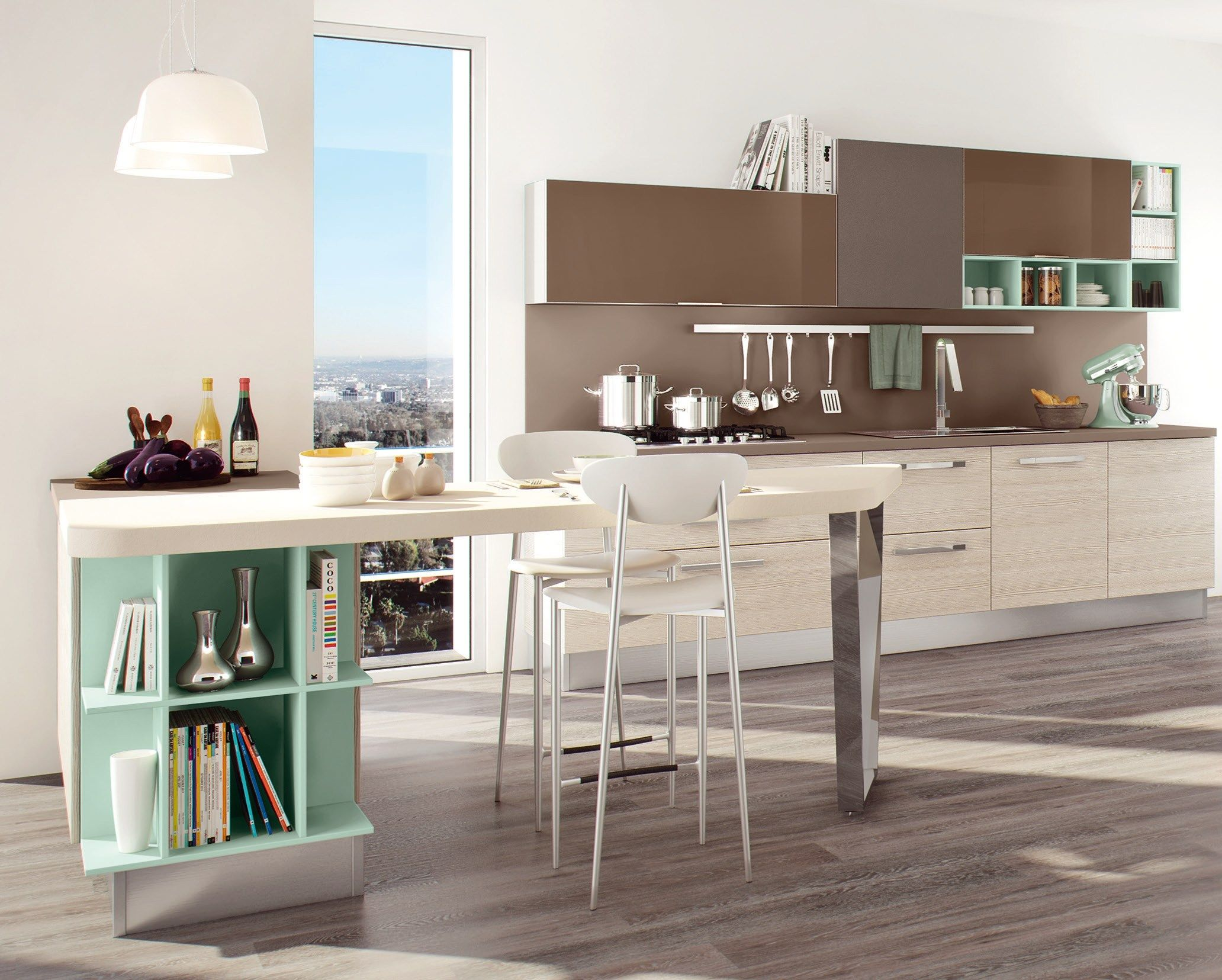 Lacquered fitted kitchen with peninsula SWING LACQUERED