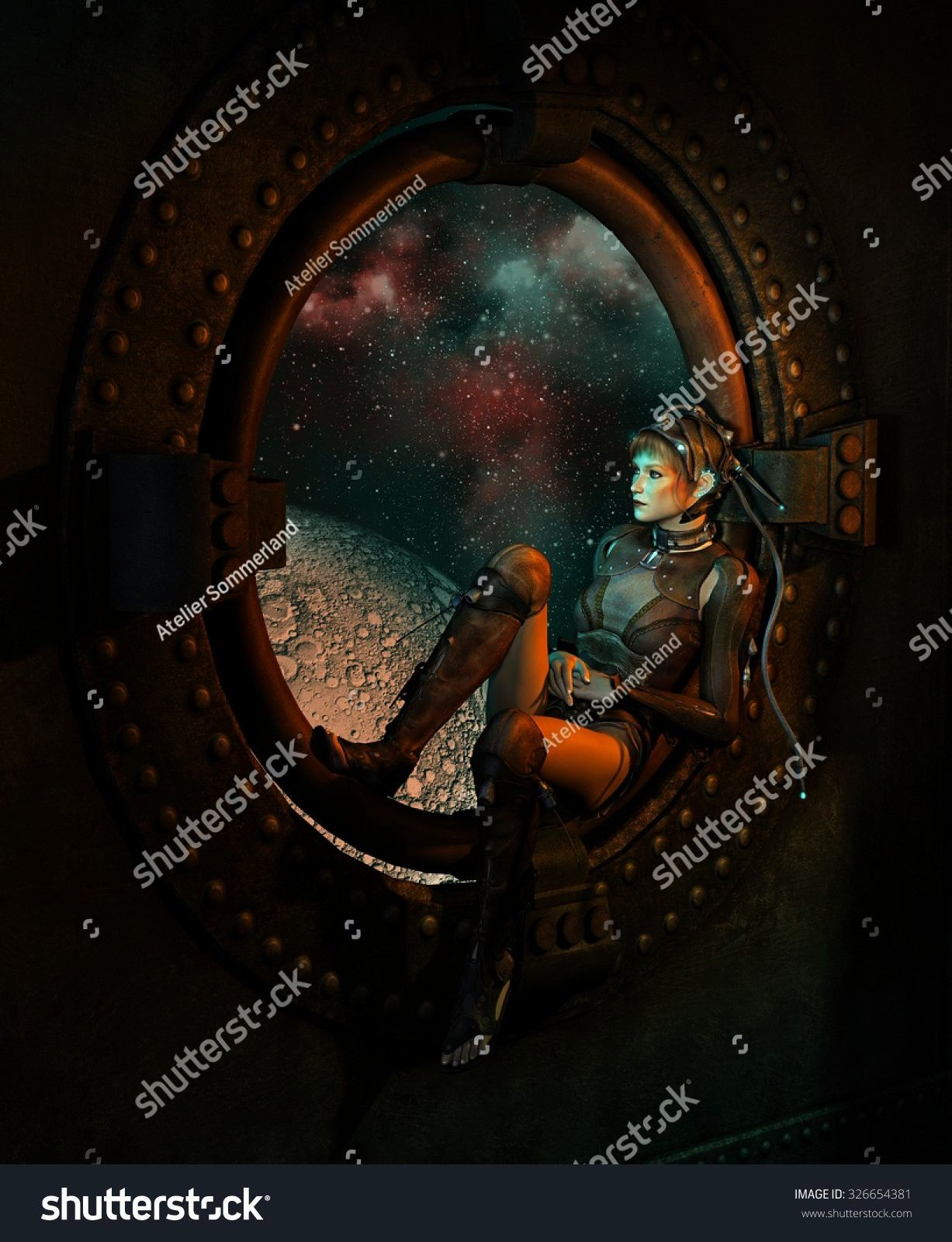 computer graphics of a young woman with a fantasy science fiction dress sitting at round window in the background the outer space 3d computer graphics of a young woman wi...