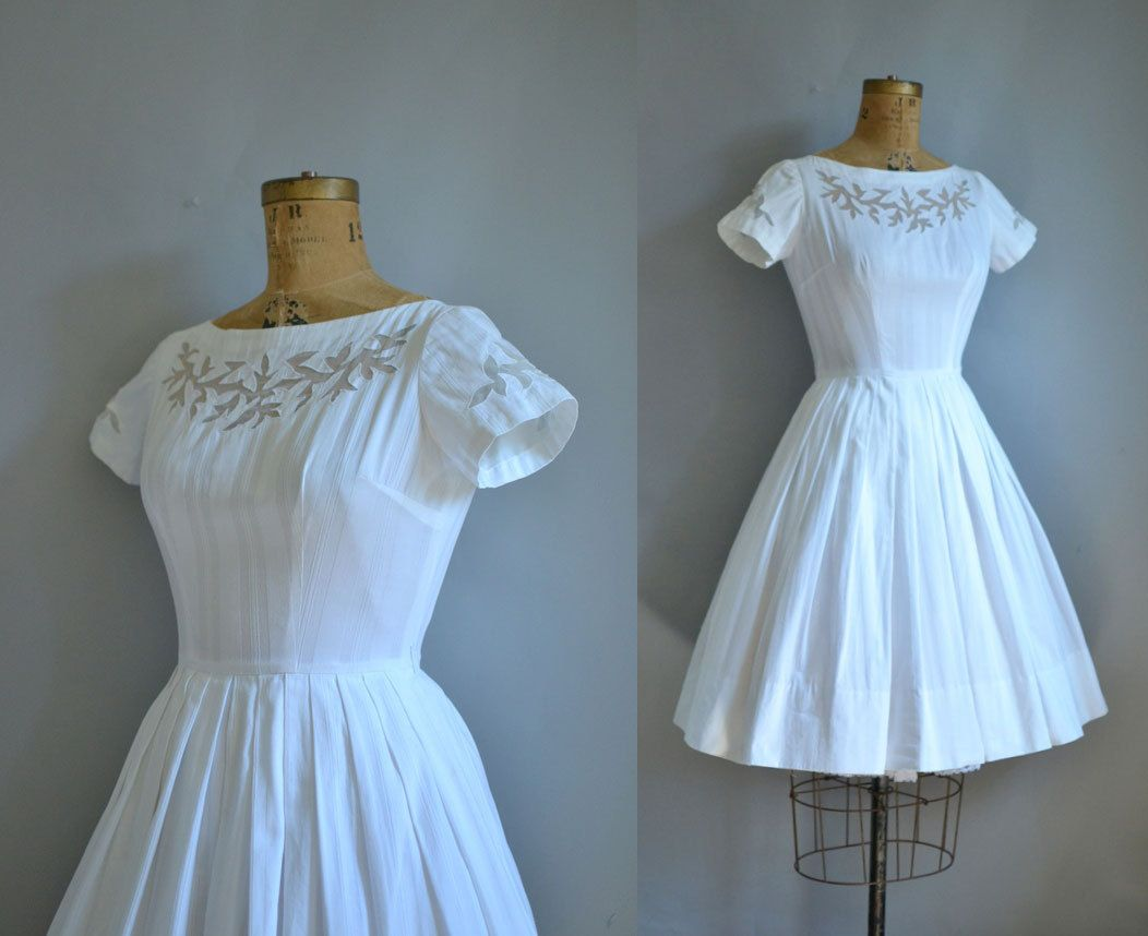 1950s White Dress / 50s Cotton Dress. $88.00, via Etsy.   Dresses ...