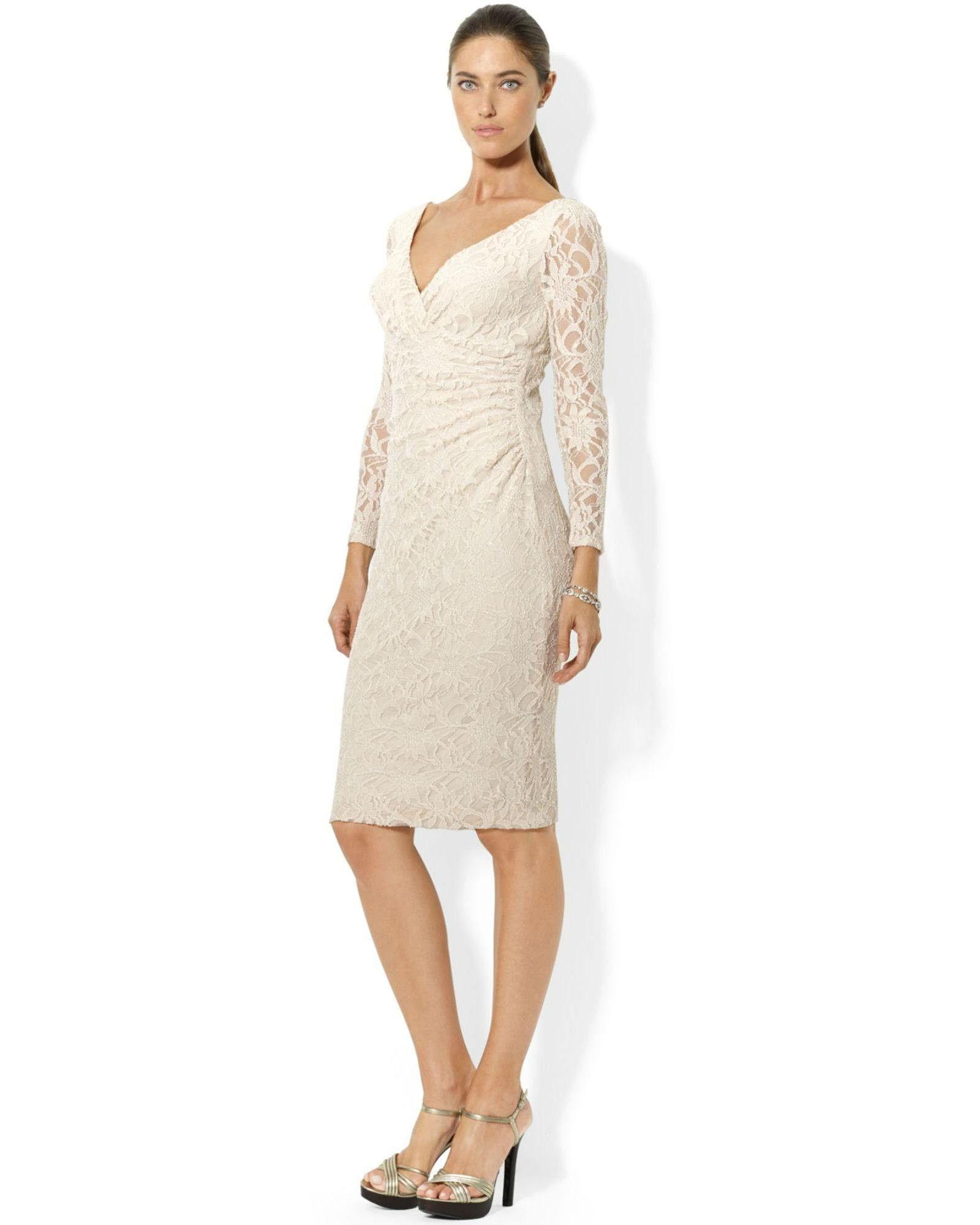 Lauren ralph lauren dress longsleeve lace dress ralph lauren