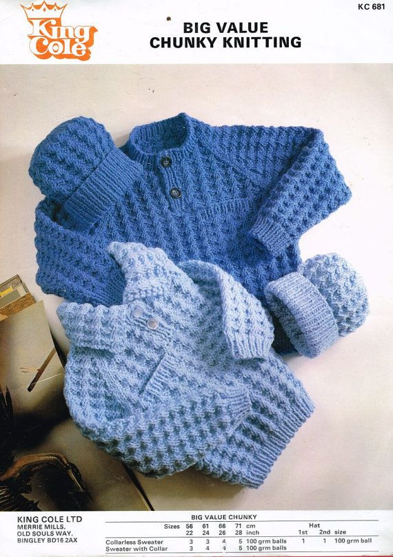 Baby Chunky Jumper And Beanie Hat Vintage Knitting Pattern Pdf
