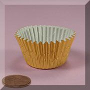 Foil Liners-  Candy Cups - White-Gold
