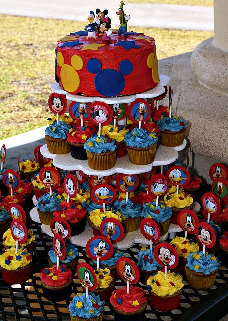 Pleasant Mickey Cupcake Tower Mickey Cupcakes Mickey Mouse Cupcakes Funny Birthday Cards Online Inifofree Goldxyz
