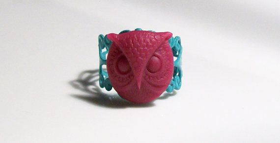 Raspberry Acrylic Owl on a Sea Green Metal Filigree Adjustable Ring