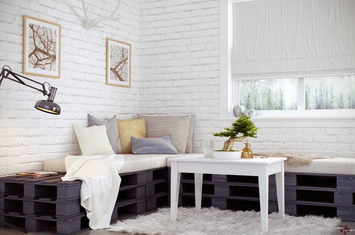 Attractive Interior, Fancy Bonsai Plant In Home Interior Decoration Ideas: Fancy Green  Bonsai Plant With Wooden White Table And Exposed Brickwall