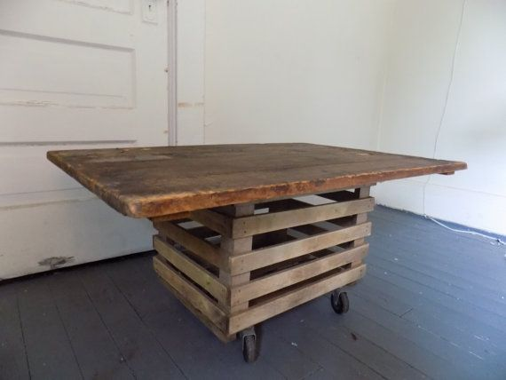 Reclaimed Wood Coffee Table Repurposed Hinged Shipping Crate Lid On Wooden  Crate Pittsburgh PA Rustic Weathered On Casters