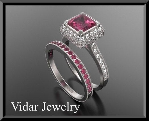 Engagement Ring Wedding Band Red Ruby Set Diamond 14k