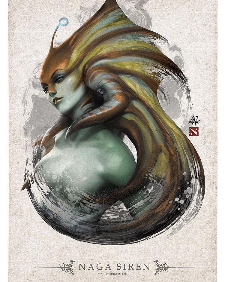 Naga Siren Completed Artgerm Dota 2 Pinterest Dota 2 Dota 2