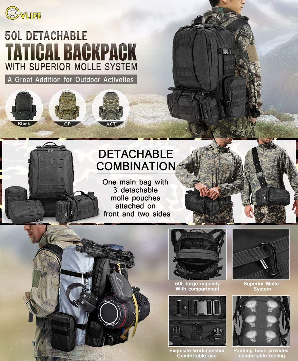 367ca7df98 CVLIFE 60L Built-up Military Tactical Army Outdoor Backpacks Assault Combat  Rucksack Heavy Bug Out Bag CP   Sports   Outdoors Tactical Backpack