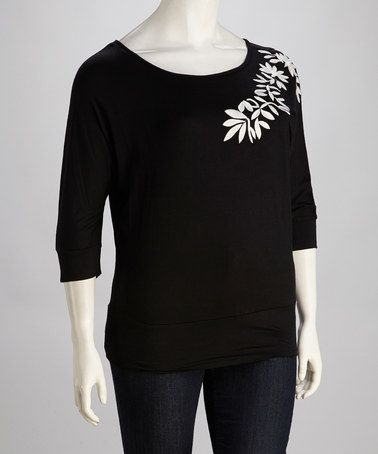 Take a look at this Black Embroidered Plus-Size Tunic by Carol Rose on #zulily today!
