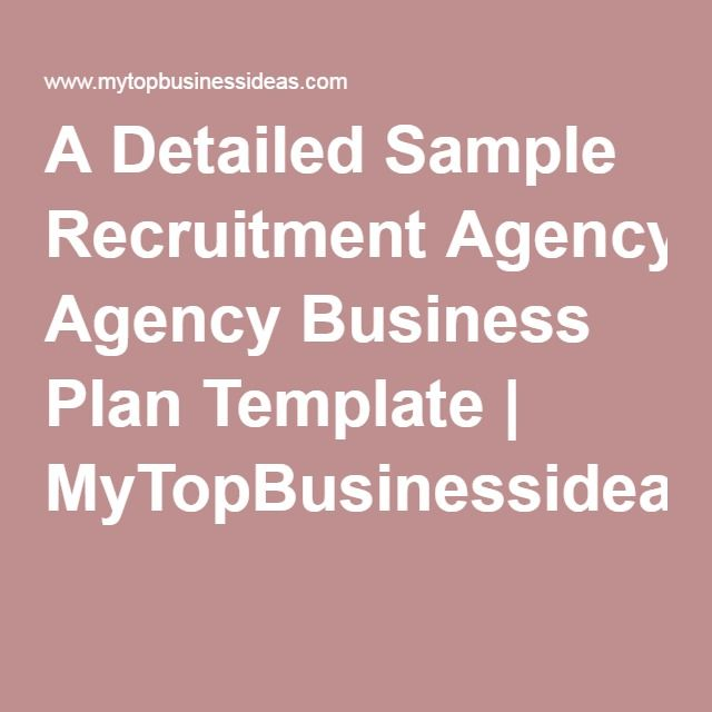 A Detailed Sample Recruitment Agency Business Plan Template