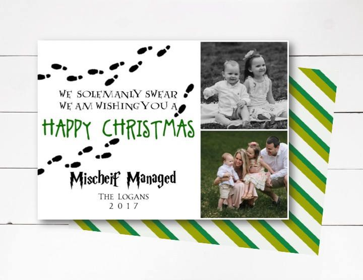 Mischief Managed Christmas Card Harry Potter Christmas Photo Card Harry Potter Christmas Ca Happy Christmas Card Christmas Photo Cards Harry Potter Christmas