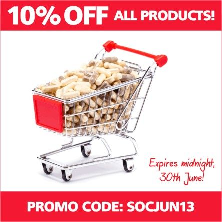 Claim your 10% OFF ALL PRODUCTS now by simply typing in the #promocode SOCJUN13 into the Coupon Code field at checkout and click 'Apply'. Offer expires at midnight on Sunday, 30 June. Feel free to share with friends and family :)