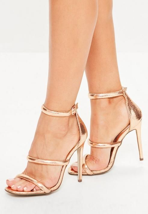 8e36568bdafa Missguided Rose Gold Rounded Three Strap Barely There Heels ...