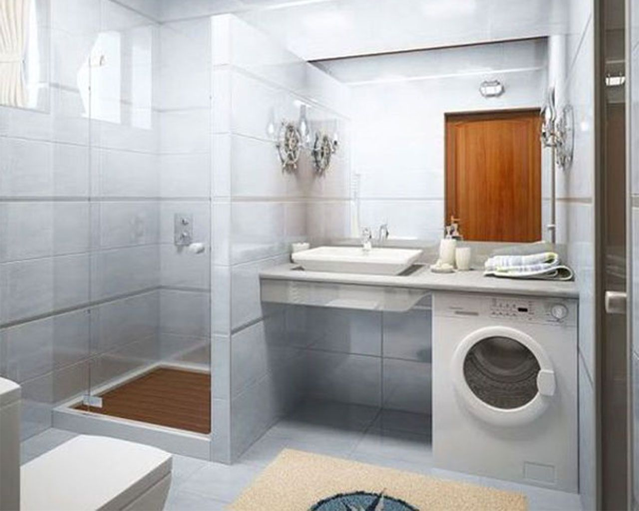 Simple bathrooms with shower - Perfect Small Bathroom Design Idea In White Interior Nuance With Simple White Vessel Sink And Mirror And Washing Machine And Shower Also Beige Rug And