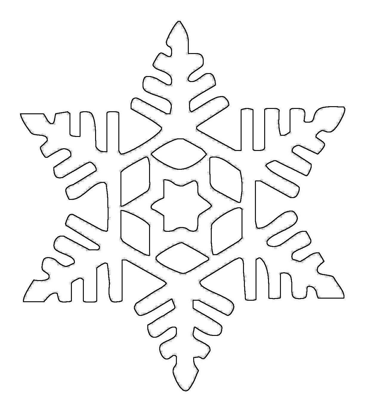 Ausmalbild Schneeflocken und Sterne: Schneeflocke 6 kostenlos