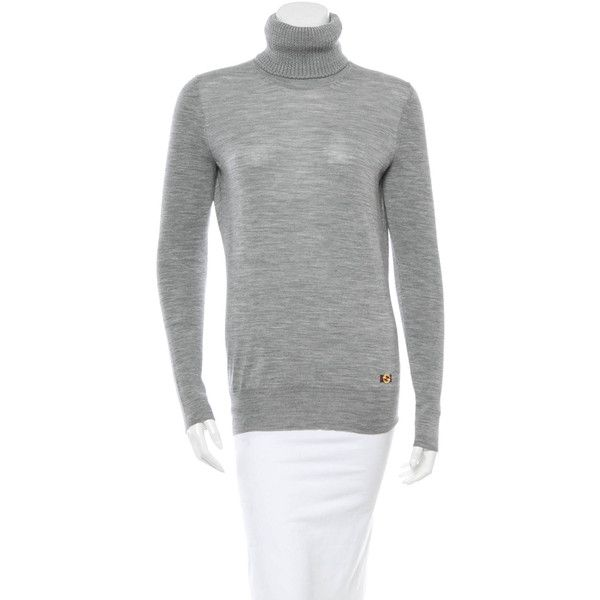 Gucci Wool Turtleneck Sweater ($95) ❤ liked on Polyvore featuring tops, sweaters, grey, long sleeve turtleneck, wool turtleneck, long sleeve tops, woolen sweater and long sleeve sweaters