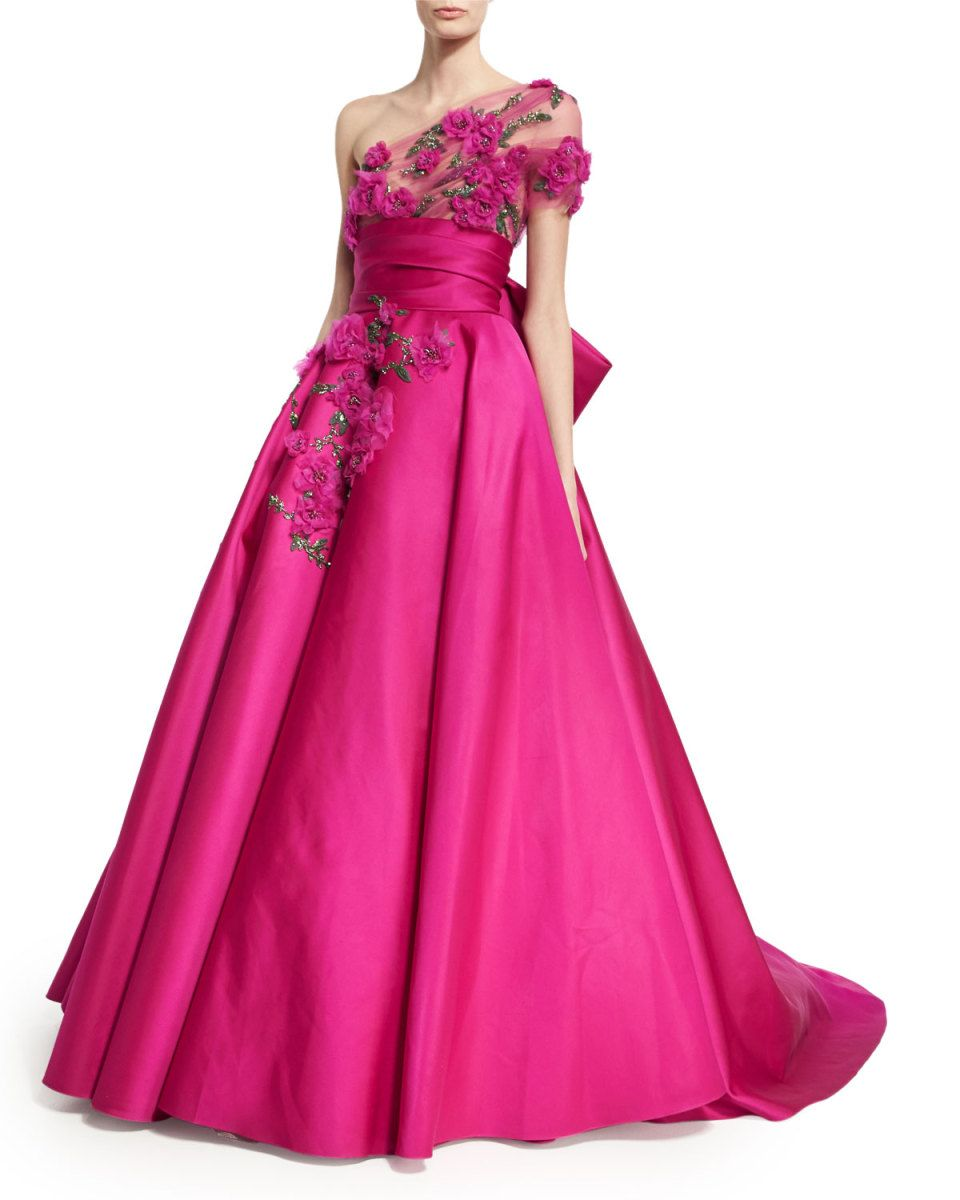 Marchesa Floral-Embroidered One-Shoulder Ball Gown
