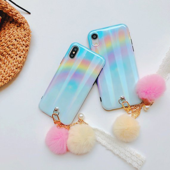 sports shoes 504e2 6c7bf iPhone XS Max Case With Faux Fur Ball Chain Key Laser Beam ...