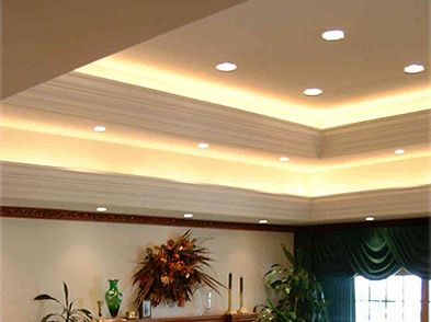 indirect lighting ceiling. Living Room Ceiling Double Plaster Crown With Indirect Lighting. Lighting
