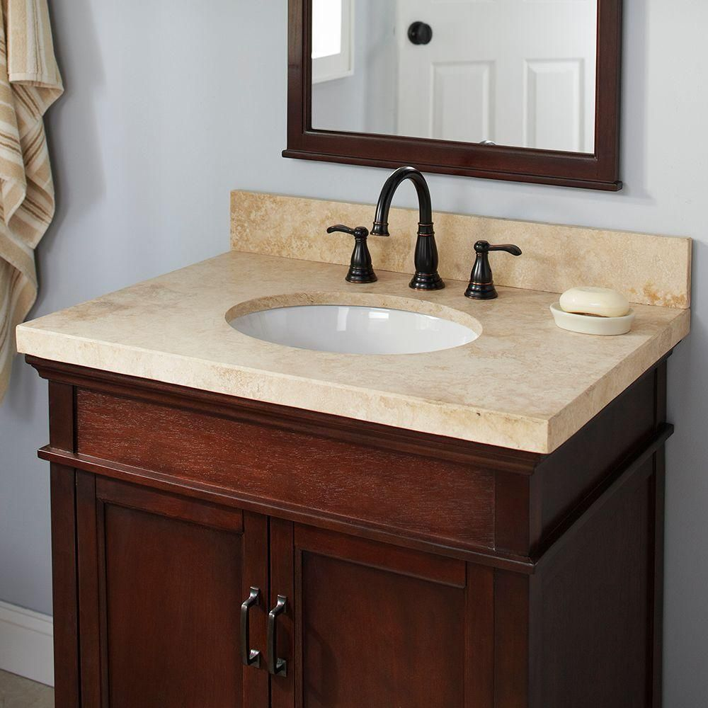 Pegasus 49 In Travertine Vanity Top In Ivory Select With White