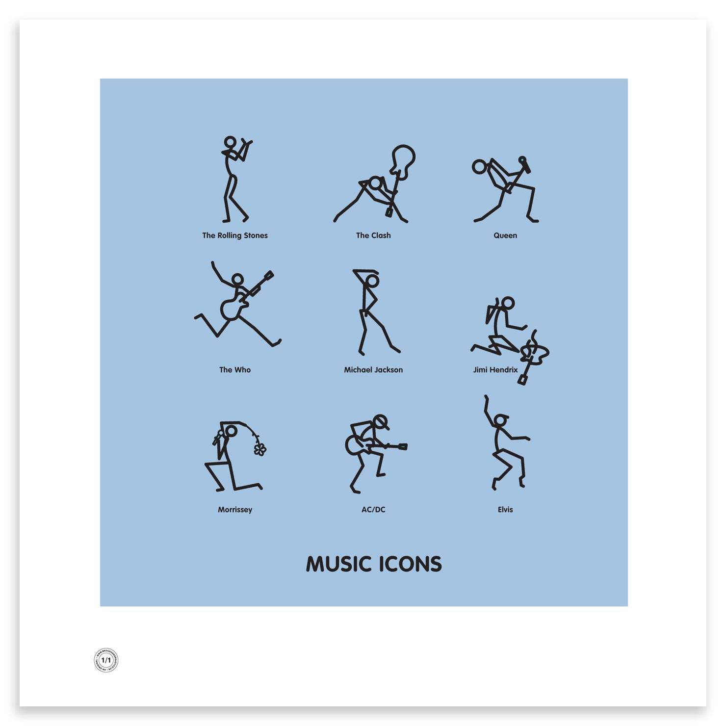Music Icons, Guitar smashing rockers, flower waving crooners or a moonwalking Wacko… they're all featured in this stylish print.
