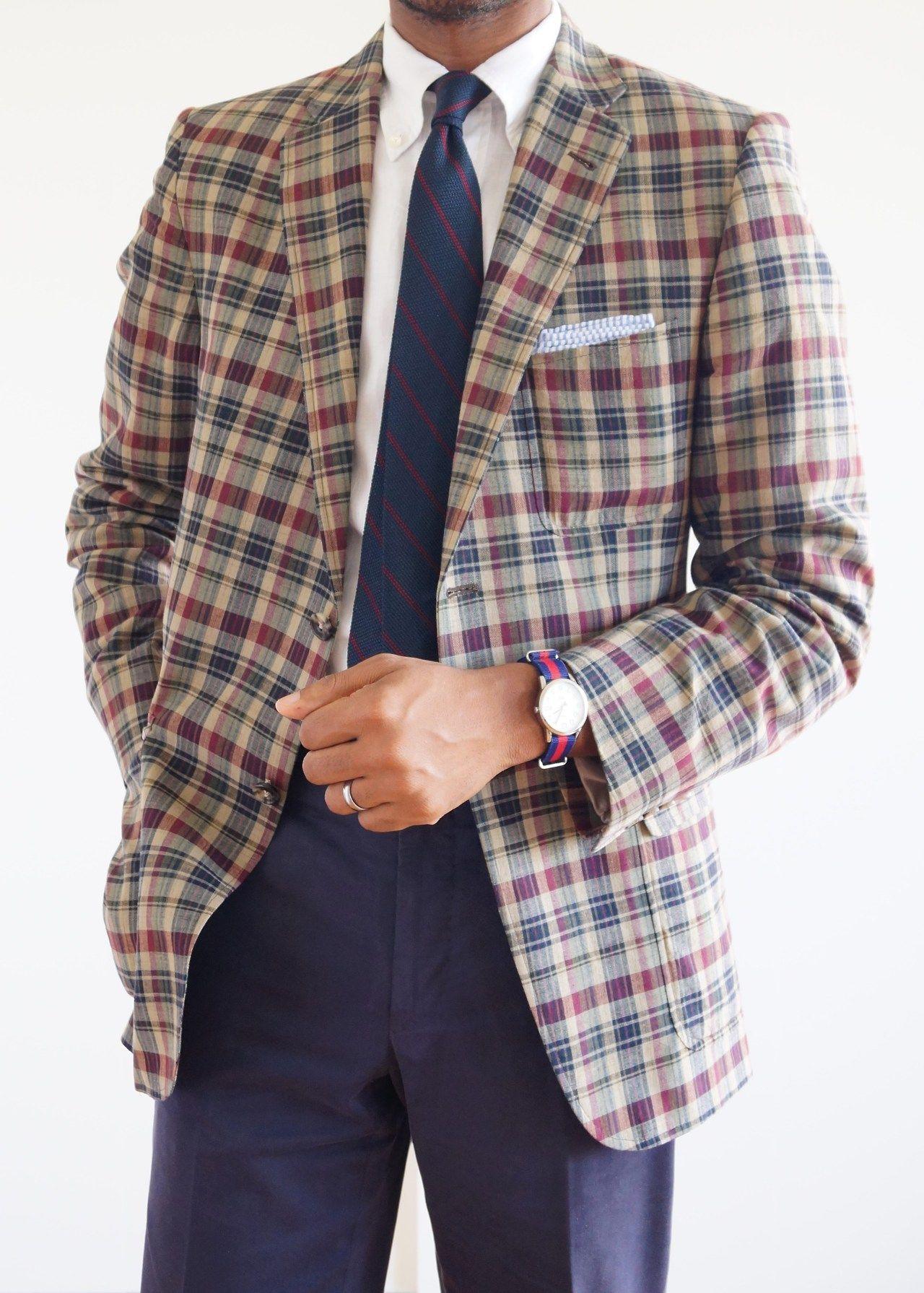 Red plaid seersucker blazer