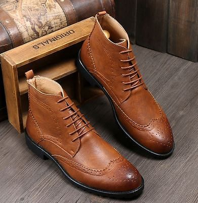 Mens ankle boots dress wingtip lined